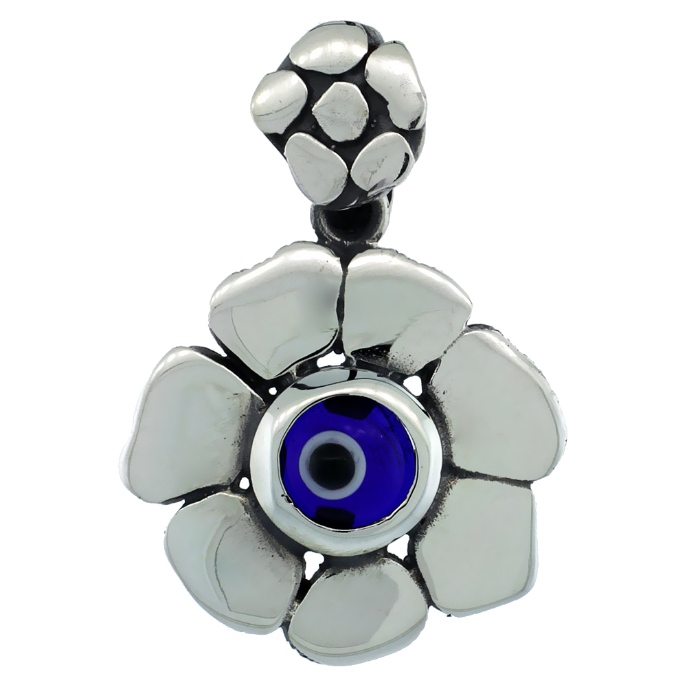 Sterling Silver Evil Eye Pendant Flower Shape Navy Blue Color, 3/4 inch wide