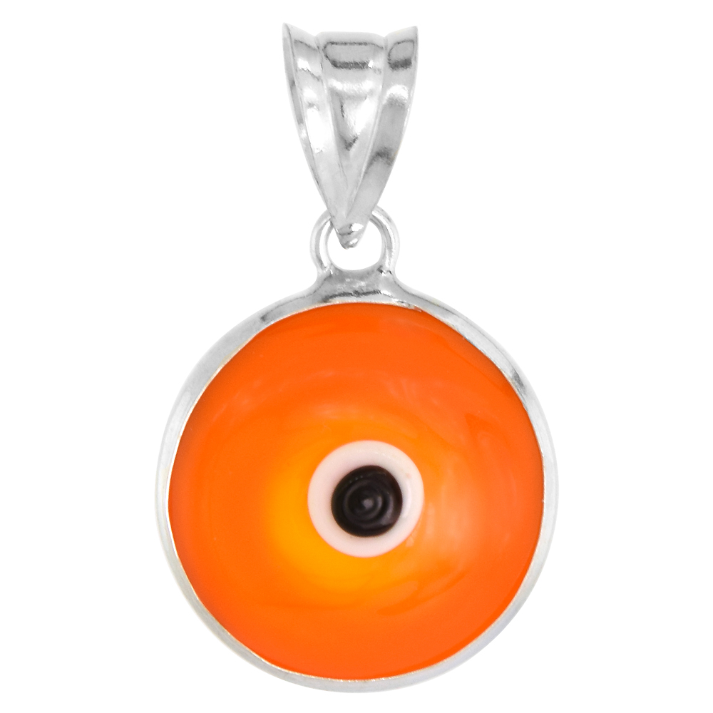 Sterling Silver Evil Eye Pendant Orange Color, 5/8 inch wide