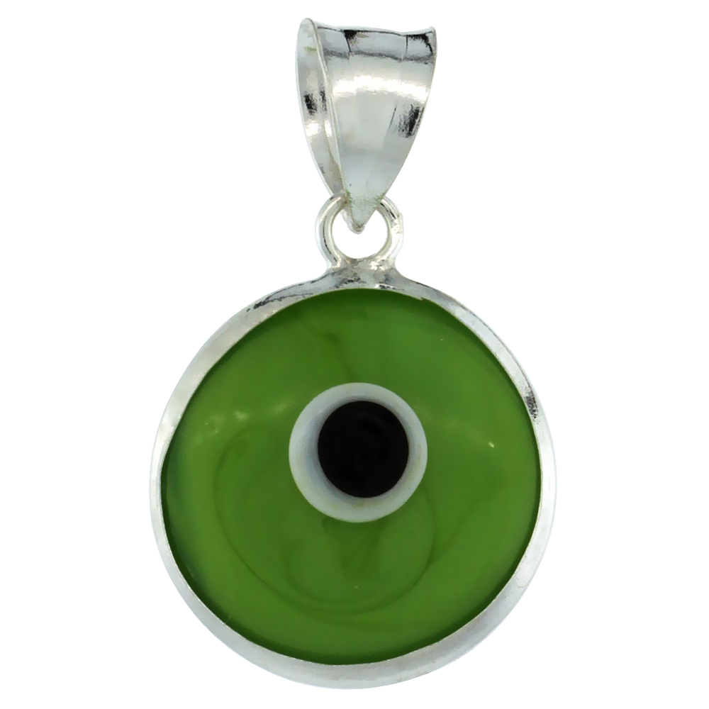 Sterling Silver Evil Eye Pendant Apple Green Color, 5/8 inch wide