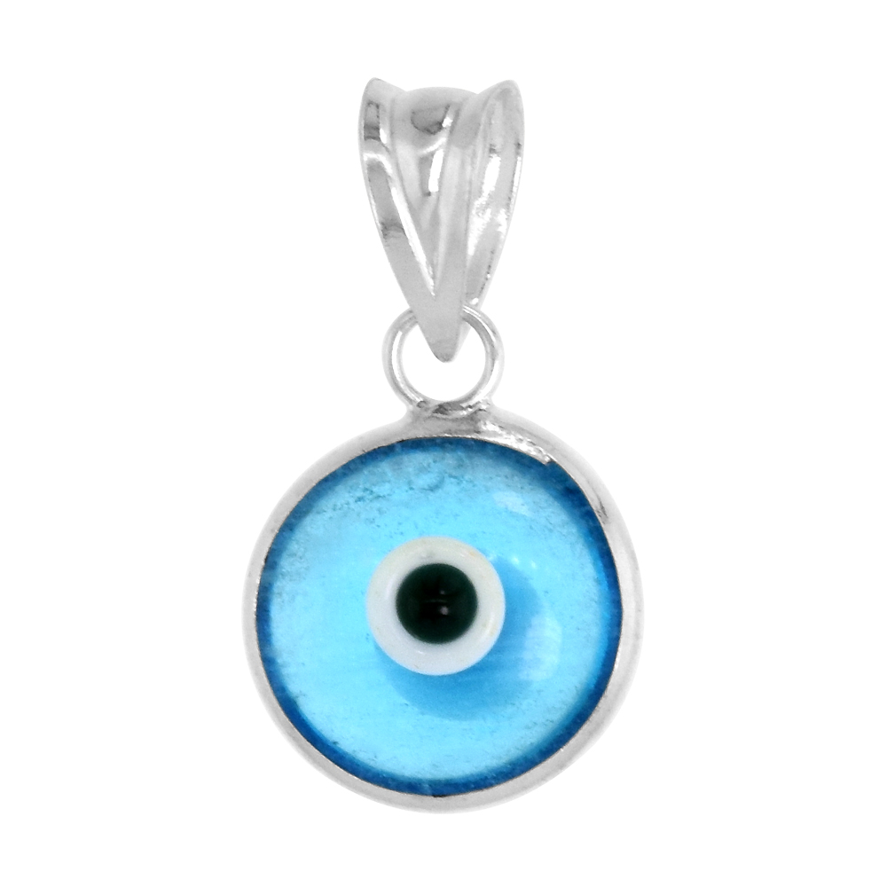 Sterling Silver Evil Eye Pendant Clear Sky Blue Color