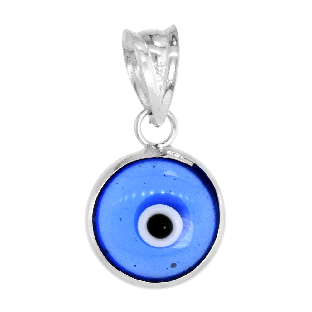 Sterling Silver Evil Eye Pendant Royal Blue Color, 5/8 inch wide