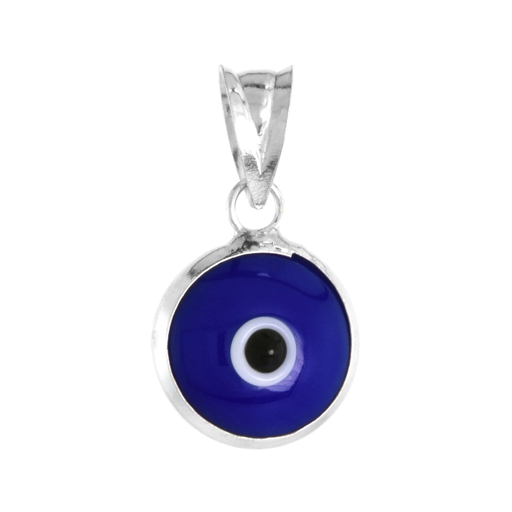 Sterling Silver Evil Eye Pendant Navy Blue Color, 5/8 inch wide