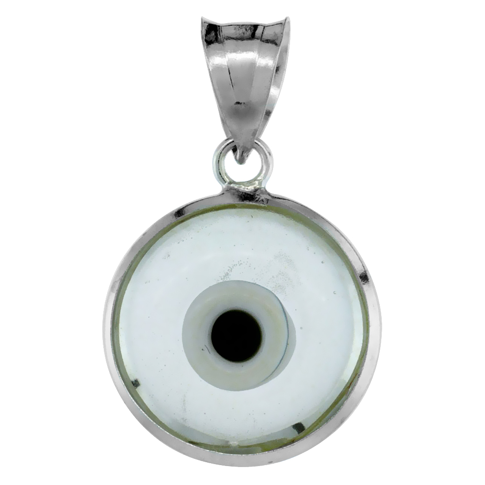 Sterling Silver Evil Eye Pendant Clear Light Gray Color, 5/8 inch wide