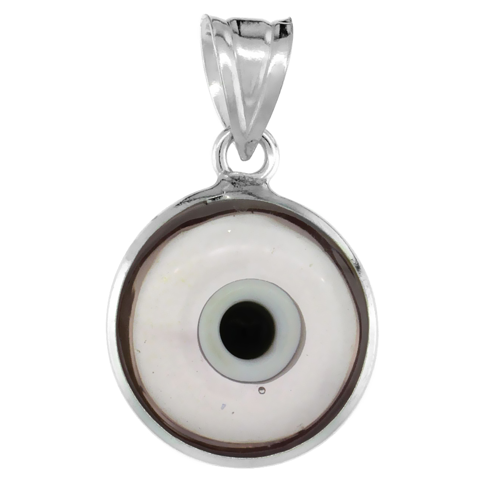 Sterling Silver Evil Eye Pendant Clear Light Purple Color, 5/8 inch wide