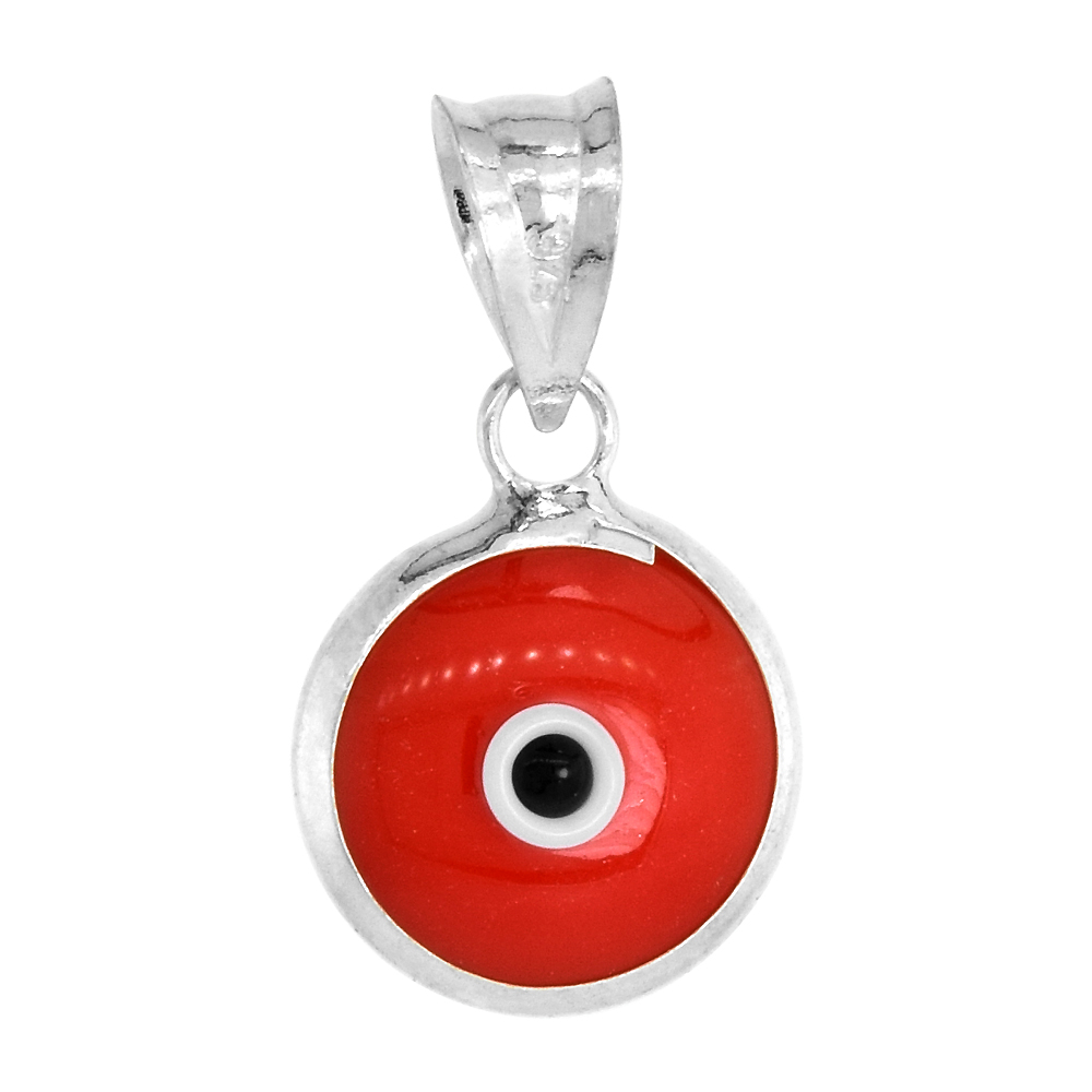Sterling Silver Evil Eye Pendant Light Pink Color, 5/8 inch wide