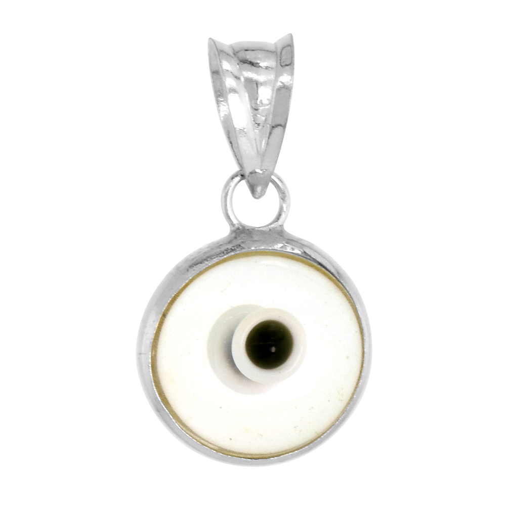 Sterling Silver Evil Eye Pendant Clear Colorless