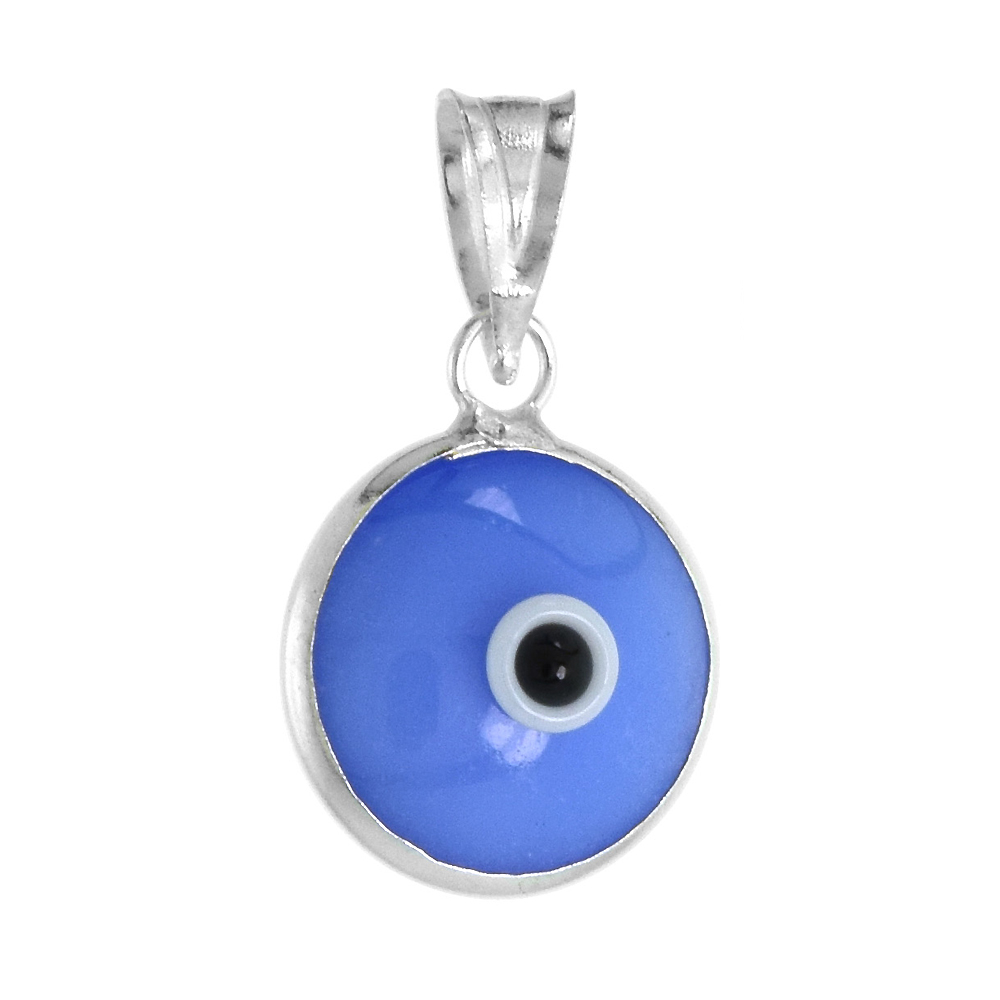 Sterling Silver Evil Eye Pendant Denim Blue Color