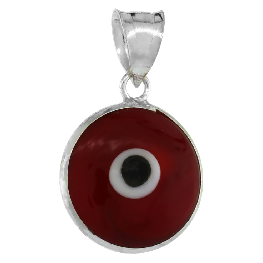 Sterling Silver Evil Eye Pendant Red Color, 5/8 inch wide