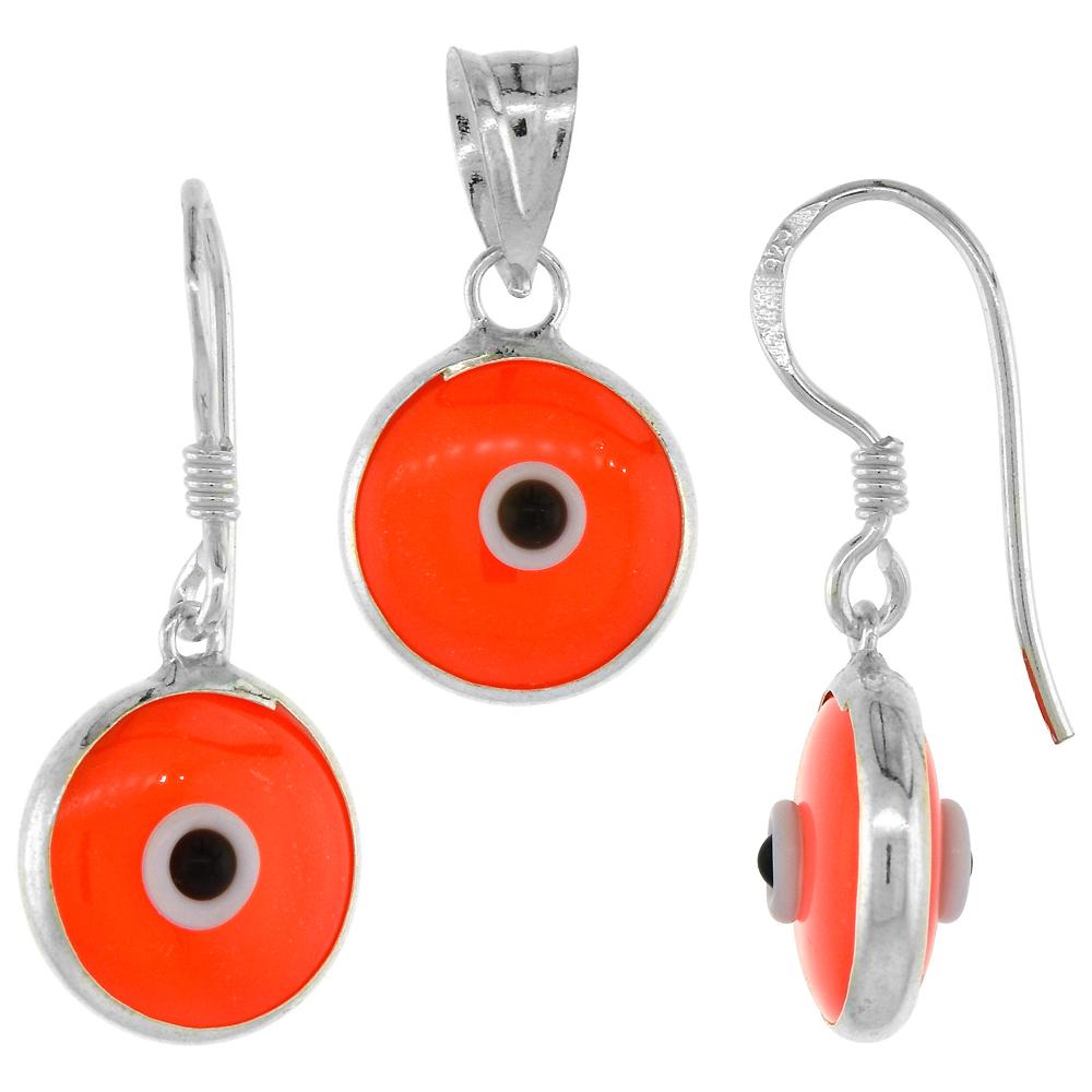 Sterling Silver Evil Eye Pendant & Earrings Set Orange Color