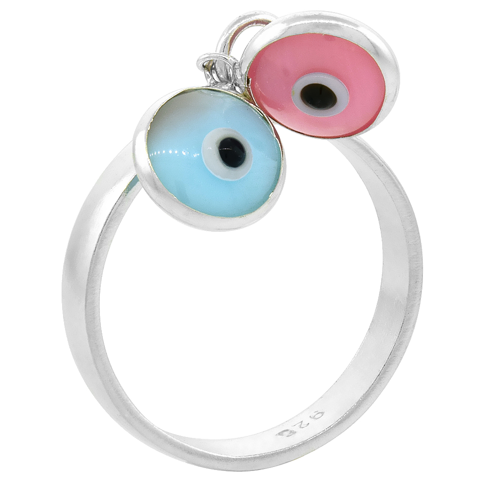 Sterling Silver Evil Eye Ring for Women w/ Two 8mm Glass Eyes Assorted Colors Handmade, sizes 6 to 9