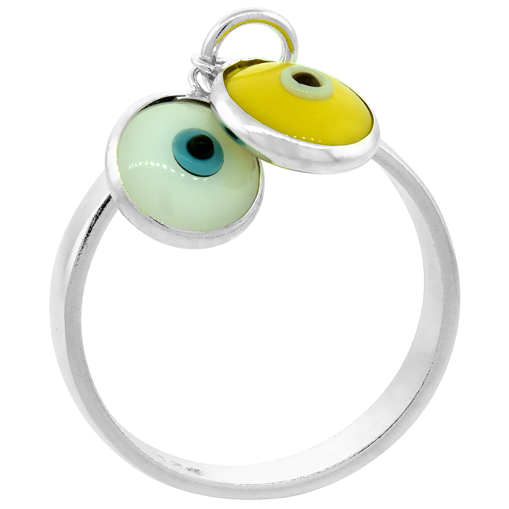 Sterling Silver Evil Eye Ring White & Yellow Color, sizes 6 to 9