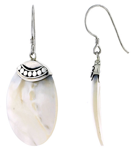 Sterling Silver Oval Natural Mother of Pearl Earrings 1 1/4 inches long