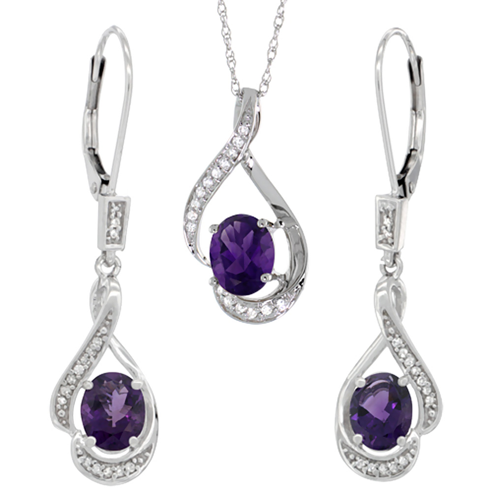 14K White Gold Diamond Natural Amethyst Lever Back Earrings & Necklace Set Oval 7x5mm, 18 inch long