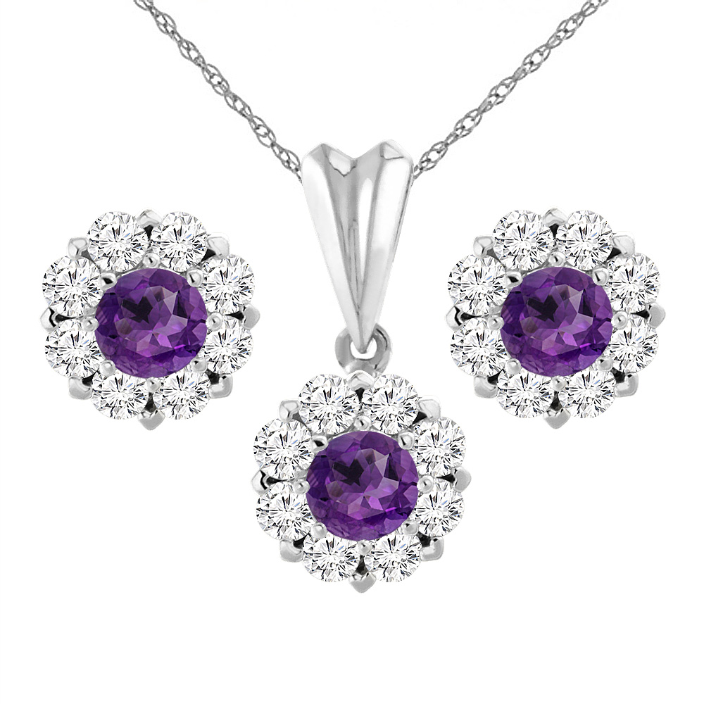 14K White Gold Natural Amethyst Earrings and Pendant Set with Diamond Halo Round 6 mm