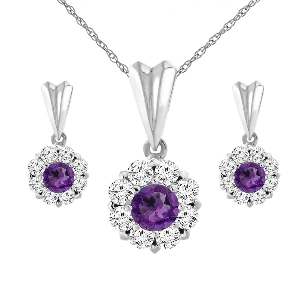14K White Gold Natural Amethyst Earrings and Pendant Set with Diamond Halo Round 4 mm