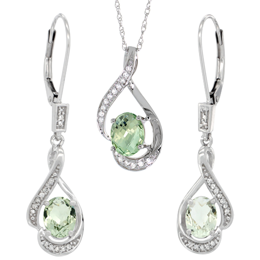 14K White Gold Diamond Natural Green Amethyst Lever Back Earrings & Necklace Set Oval 7x5mm, 18 inch long