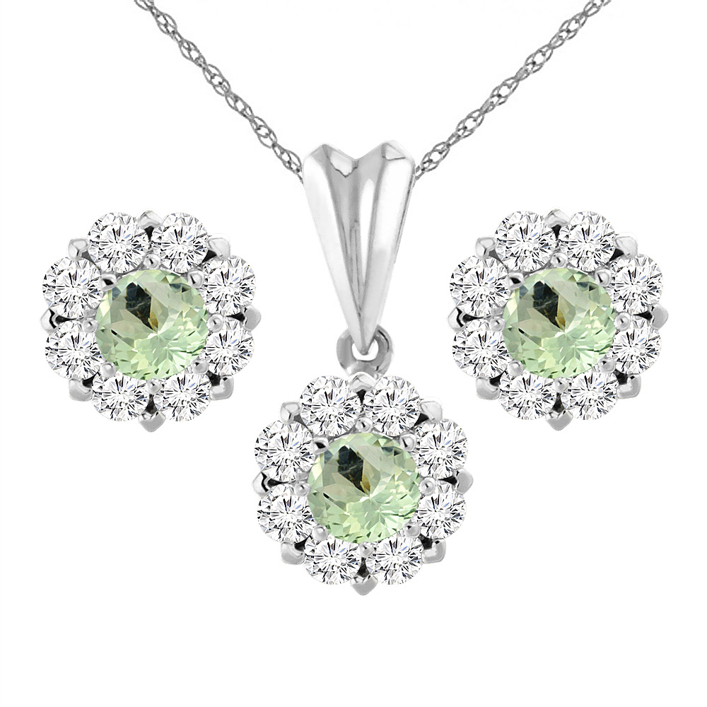 14K White Gold Natural Green Amethyst Earrings and Pendant Set with Diamond Halo Round 6 mm