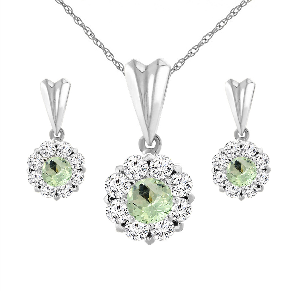 14K White Gold Natural Green Amethyst Earrings and Pendant Set with Diamond Halo Round 4 mm