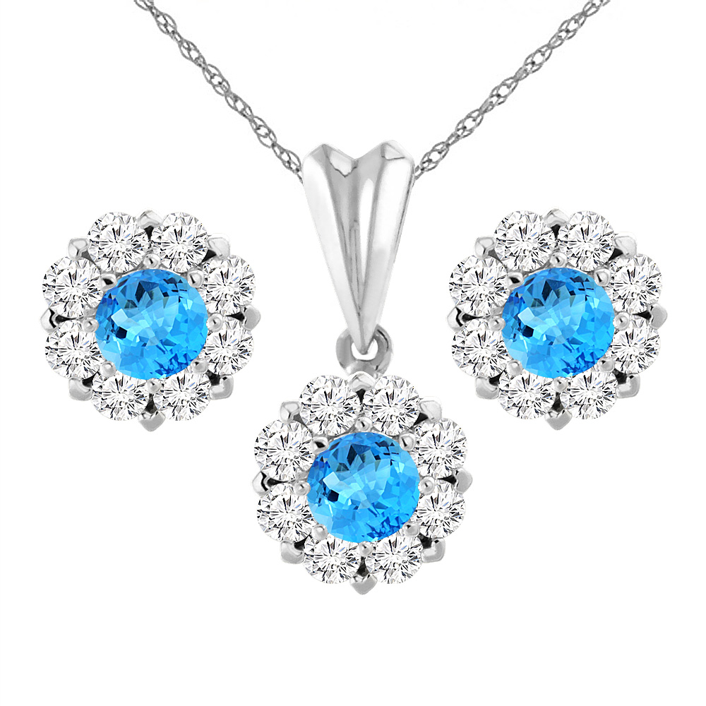 14k White Gold Natural Swiss Blue Topaz Earrings And Pendant Set With  Diamond Halo Round 6
