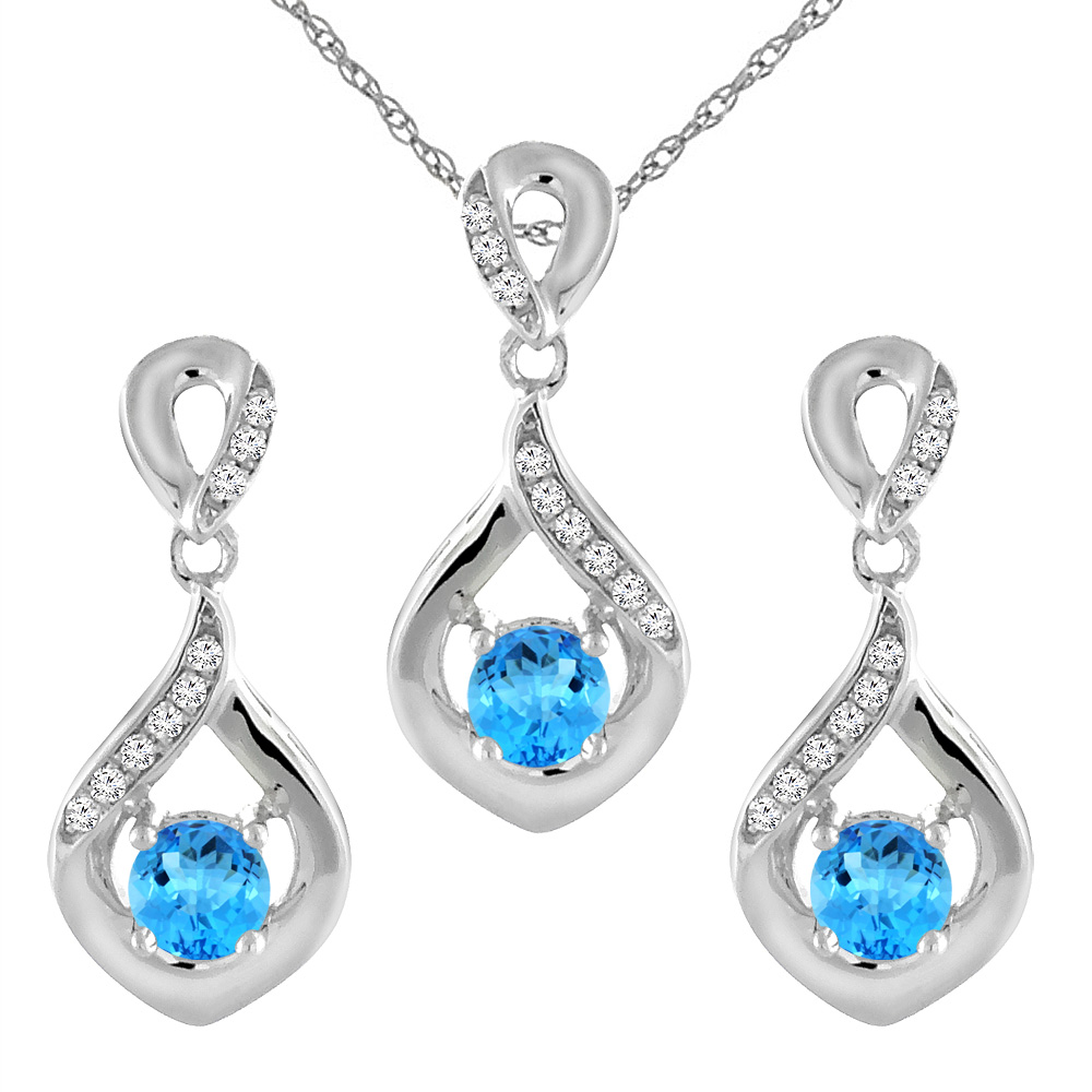 14K White Gold Natural Swiss Blue Topaz Earrings and Pendant Set with Diamond Accents Round 4 mm