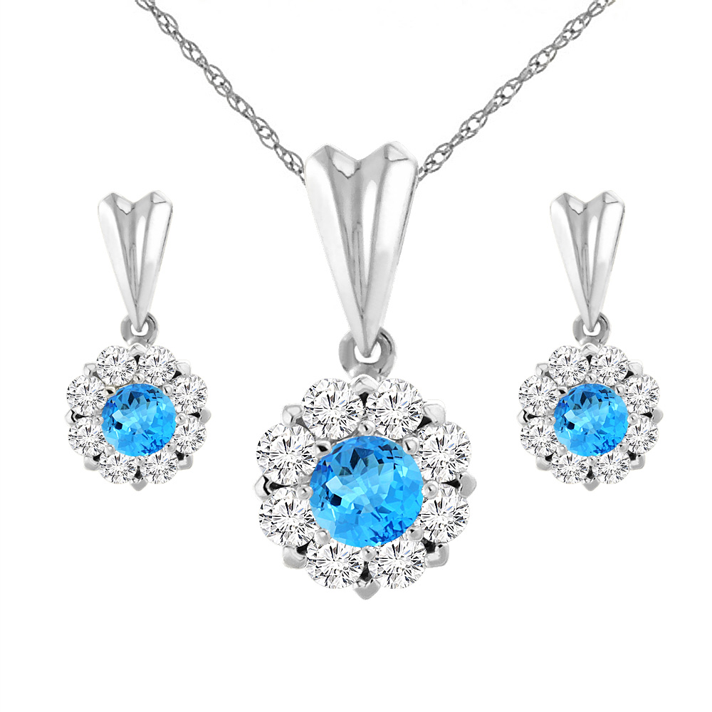 14k White Gold Natural Swiss Blue Topaz Earrings And Pendant Set With  Diamond Halo Round 4