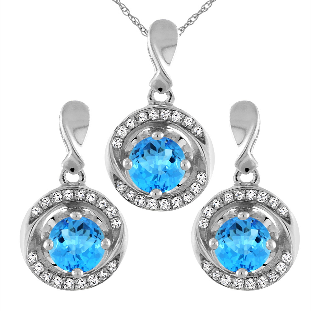 14k White Gold Natural Swiss Blue Topaz Earrings And Pendant Set With  Diamond Accents Round 4