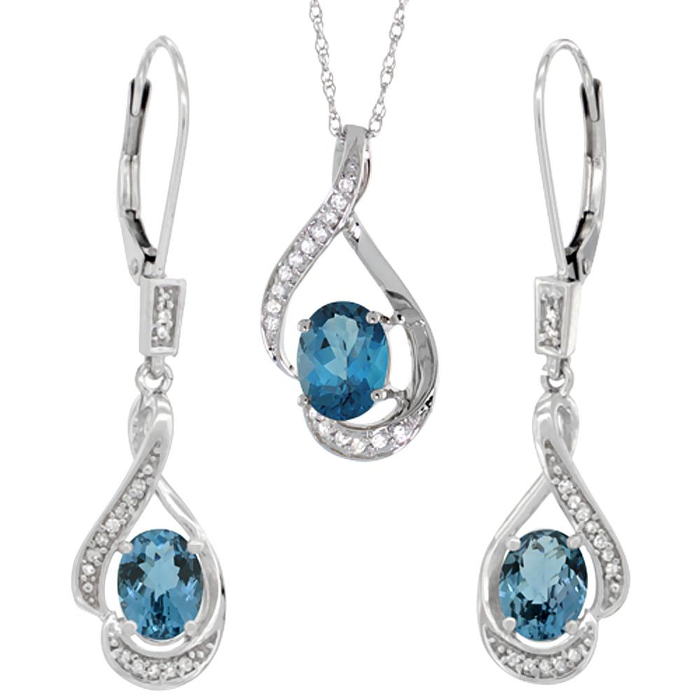 14K White Gold Natural London Blue Topaz Lever Back Earrings & Pendant Set Diamond Accent