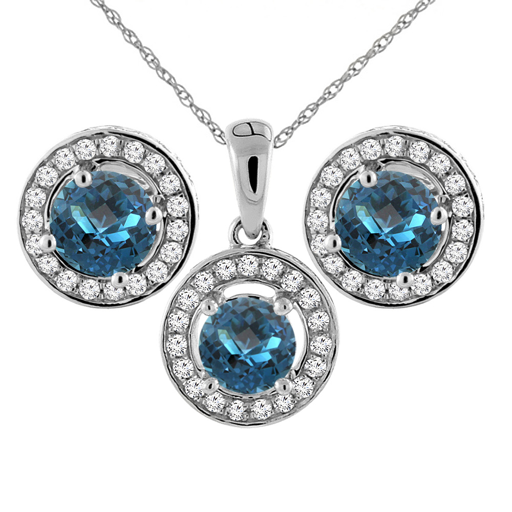 14K White Gold Natural London Blue Topaz Earrings and Pendant Set with Diamond Halo Round 5 mm