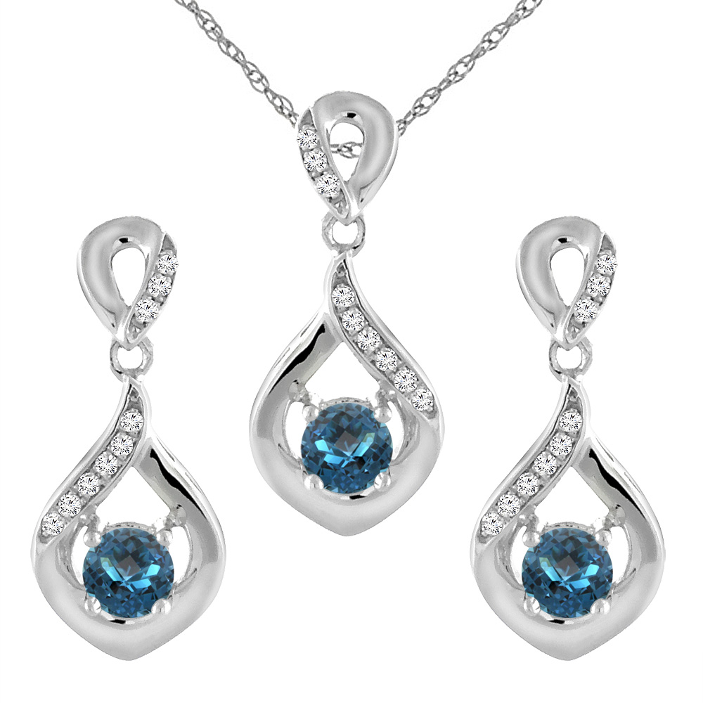14K White Gold Natural London Blue Topaz Earrings and Pendant Set with Diamond Accents Round 4 mm