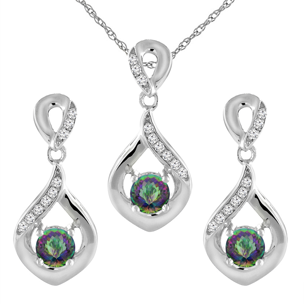 14K White Gold Natural Mystic Topaz Earrings and Pendant Set with Diamond Accents Round 4 mm