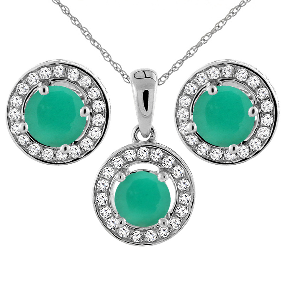 14K White Gold Natural Emerald Earrings and Pendant Set with Diamond Halo Round 5 mm