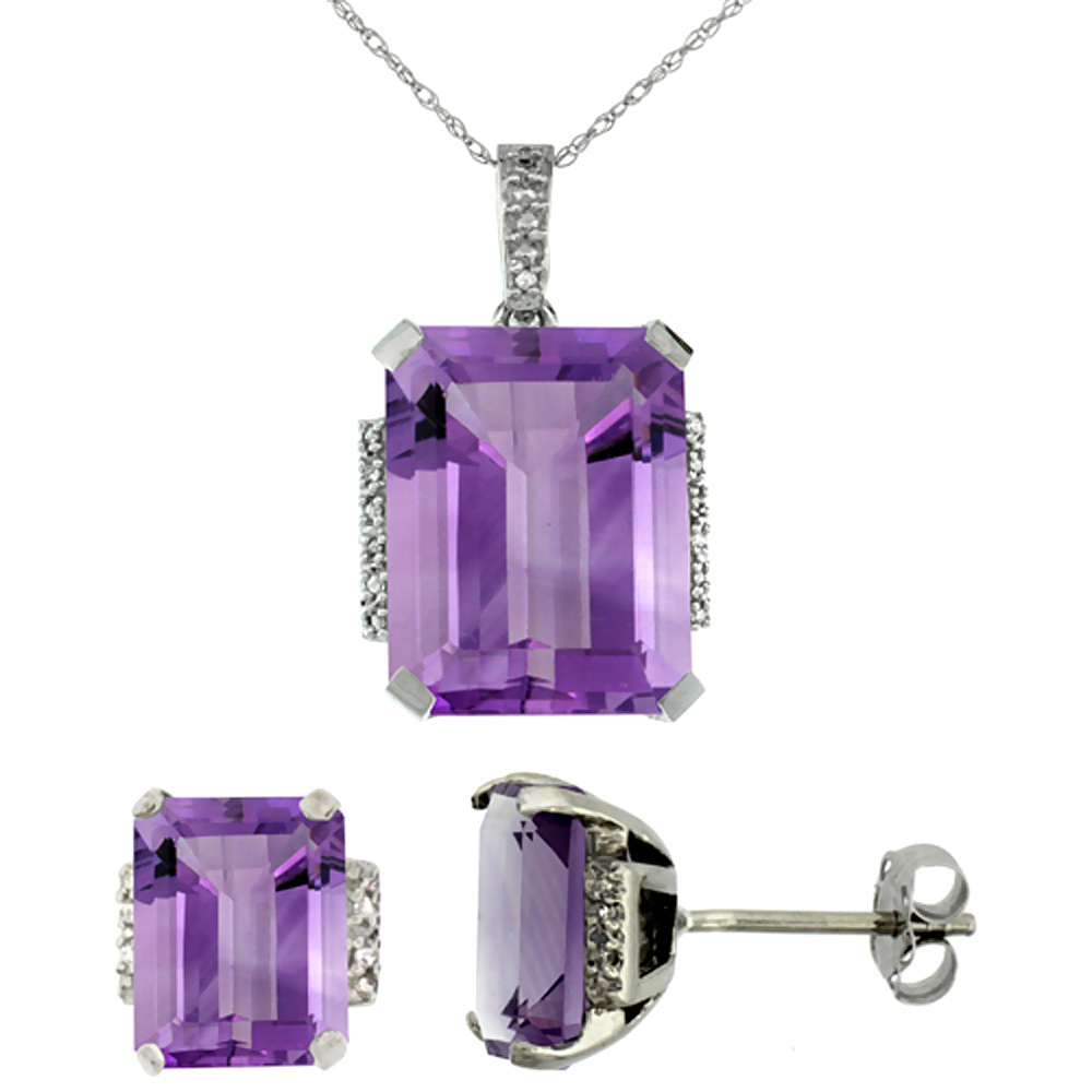 10K White Gold Natural Octagon Amethyst Earrings & Pendant Set Diamond Accents