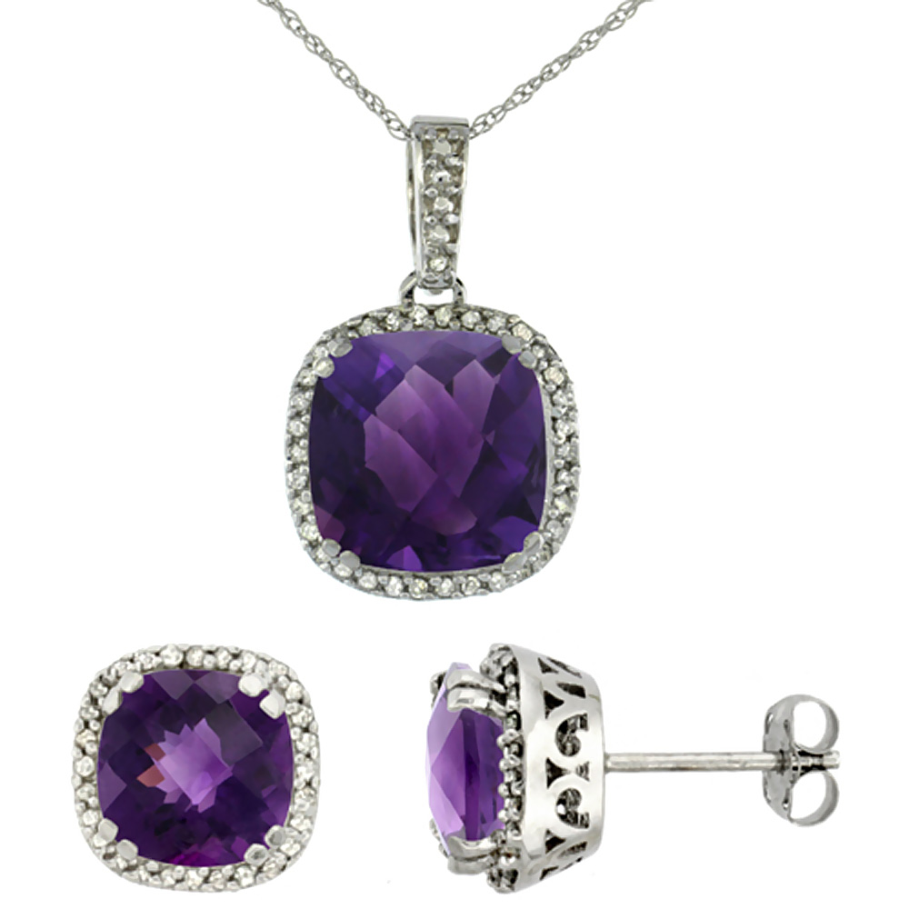 10K White Gold Natural Cushion Amethyst Earrings & Pendant Set Diamond Accents