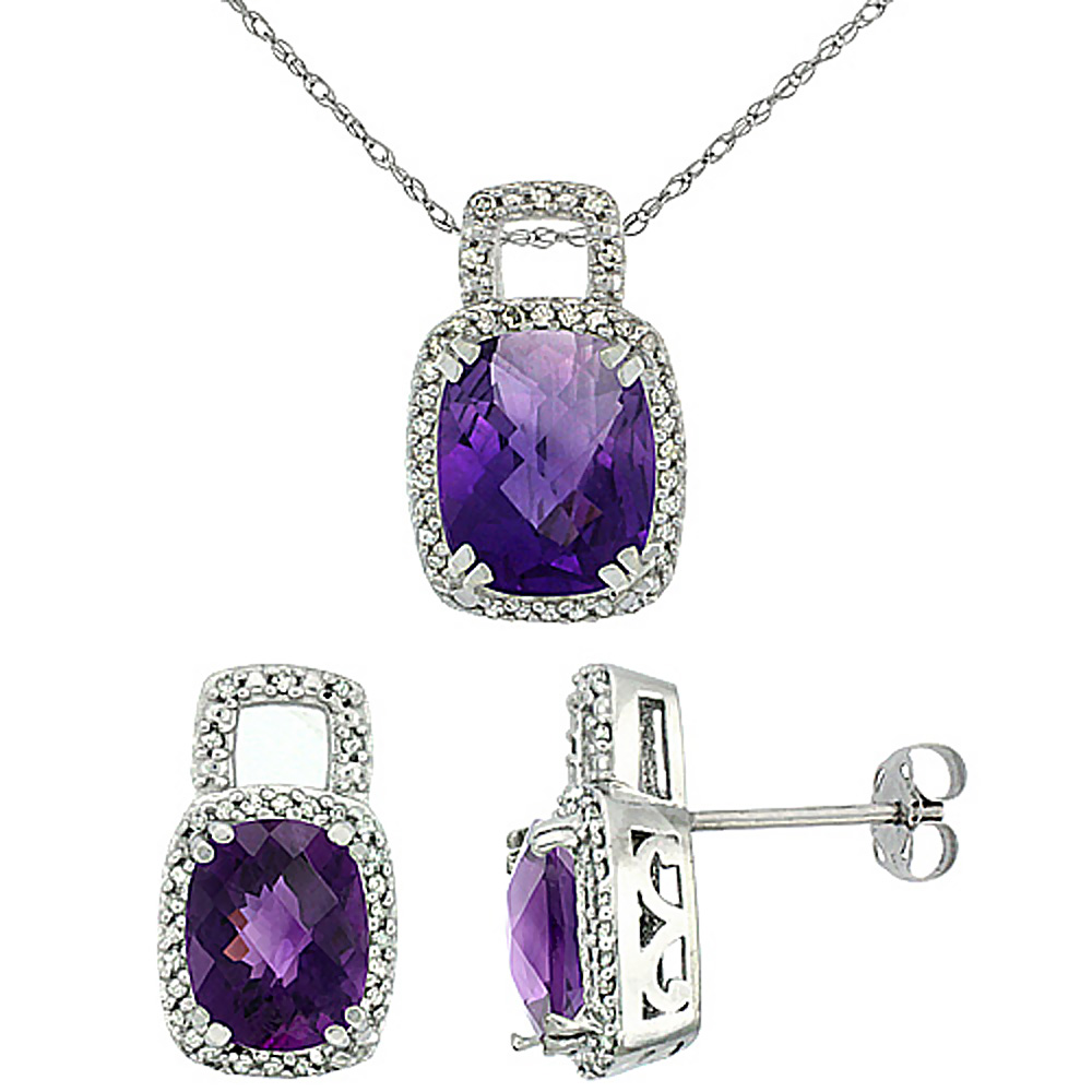 10K White Gold Natural Octagon Cushion Amethyst Earrings & Pendant Set Diamond Accents