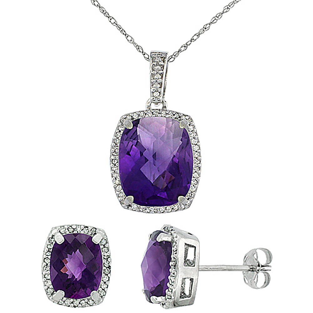 10K White Gold Natural Amethyst Octagon Cushion Earrings & Pendant Set