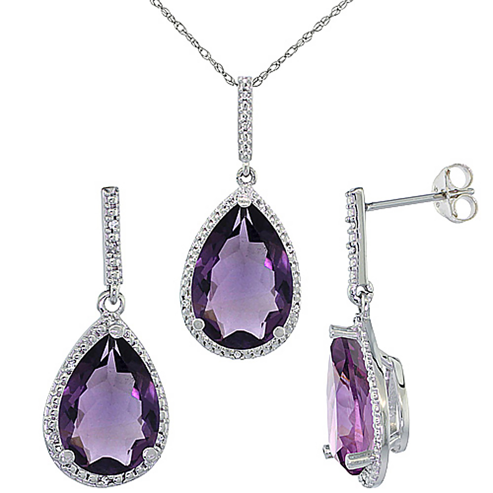 10K White Gold Diamond Natural Amethyst Pear Shape Pendant & Earrings Set