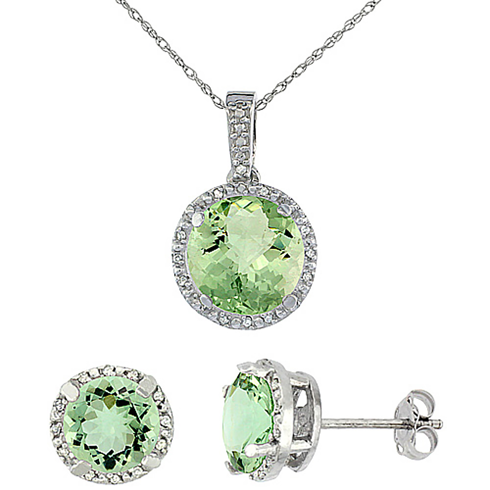 10K White Gold Natural Round Green Amethyst Earrings & Pendant Set Diamond Accents