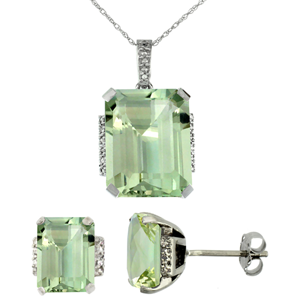 10K White Gold Natural Octagon Green Amethyst Earrings & Pendant Set Diamond Accents