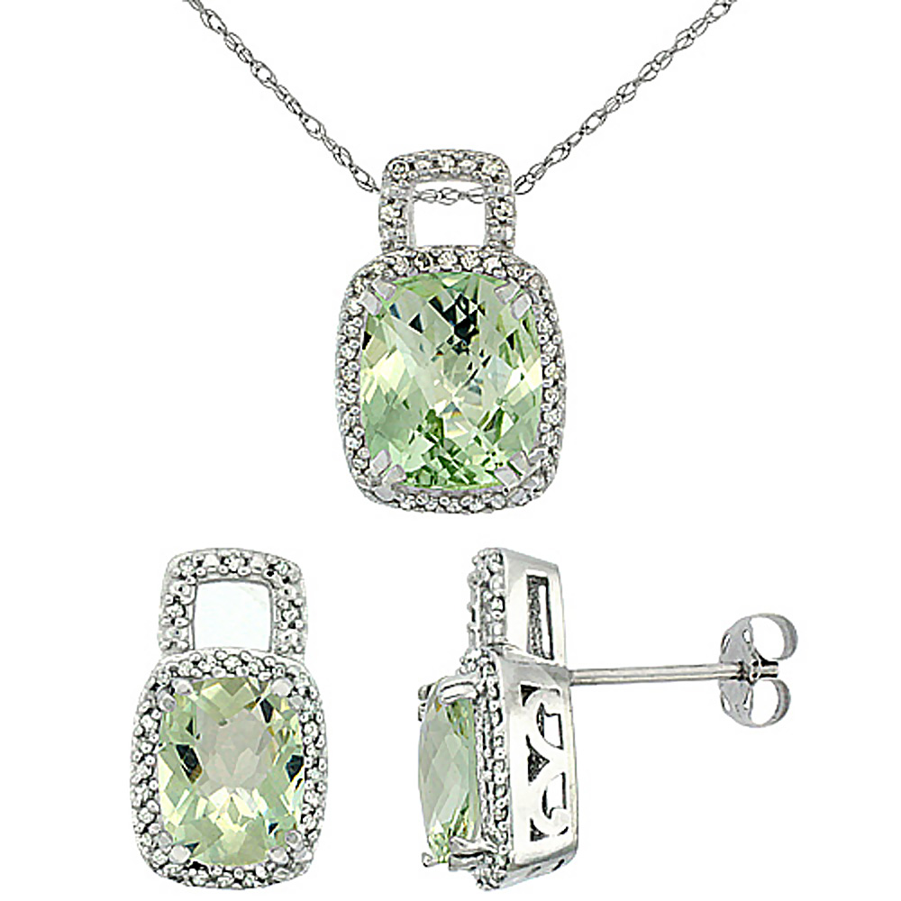 10K White Gold Natural Octagon Cushion Green Amethyst Earrings & Pendant Set Diamond Accents