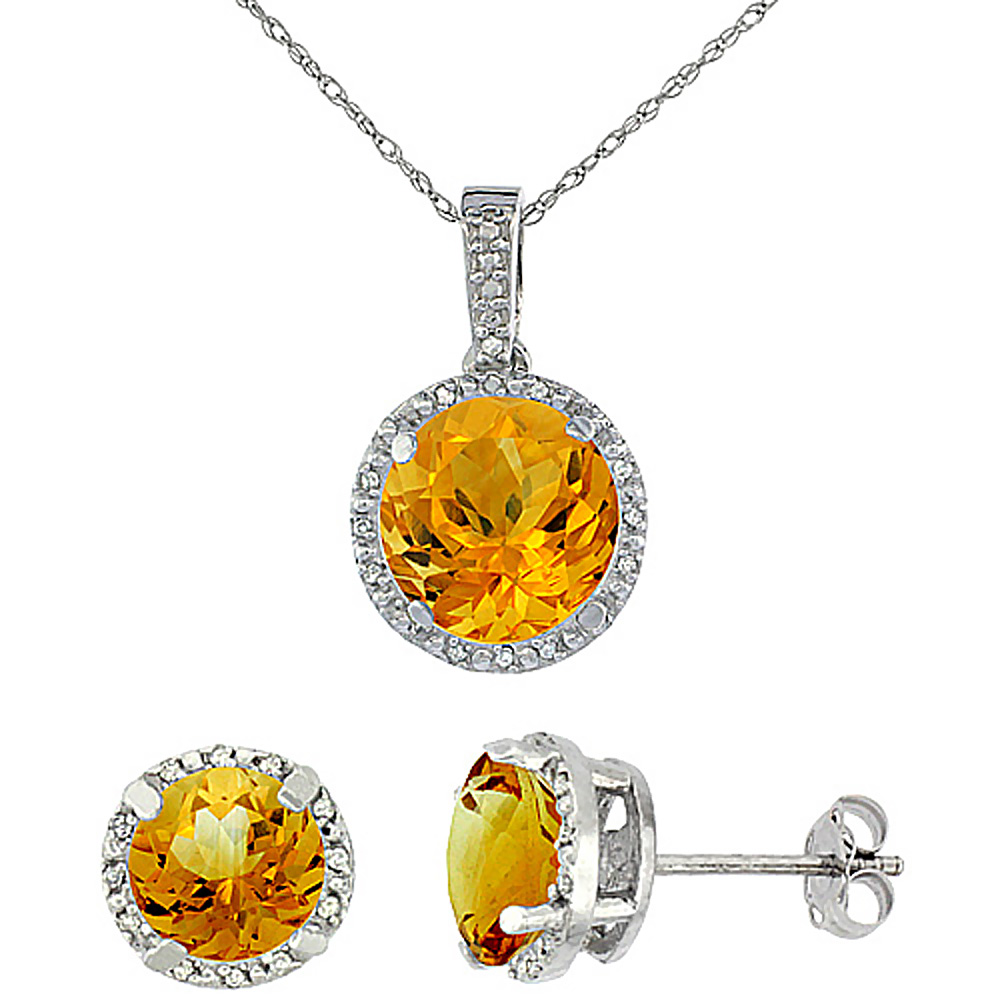 10K White Gold Natural Round Citrine Earrings & Pendant Set Diamond Accents