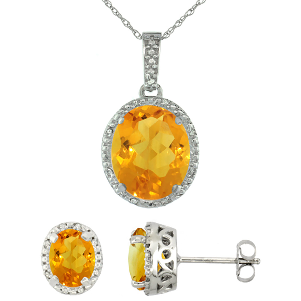 10K White Gold Diamond Halo Natural Citrine Earrings Necklace Set Oval 7x5mm & 12x10mm, 18 inch
