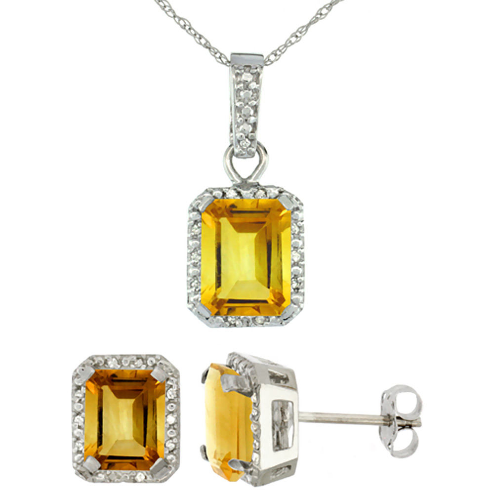10K White Gold Natural Octagon 8x6 mm Citrine Earrings & Pendant Set Diamond Accents