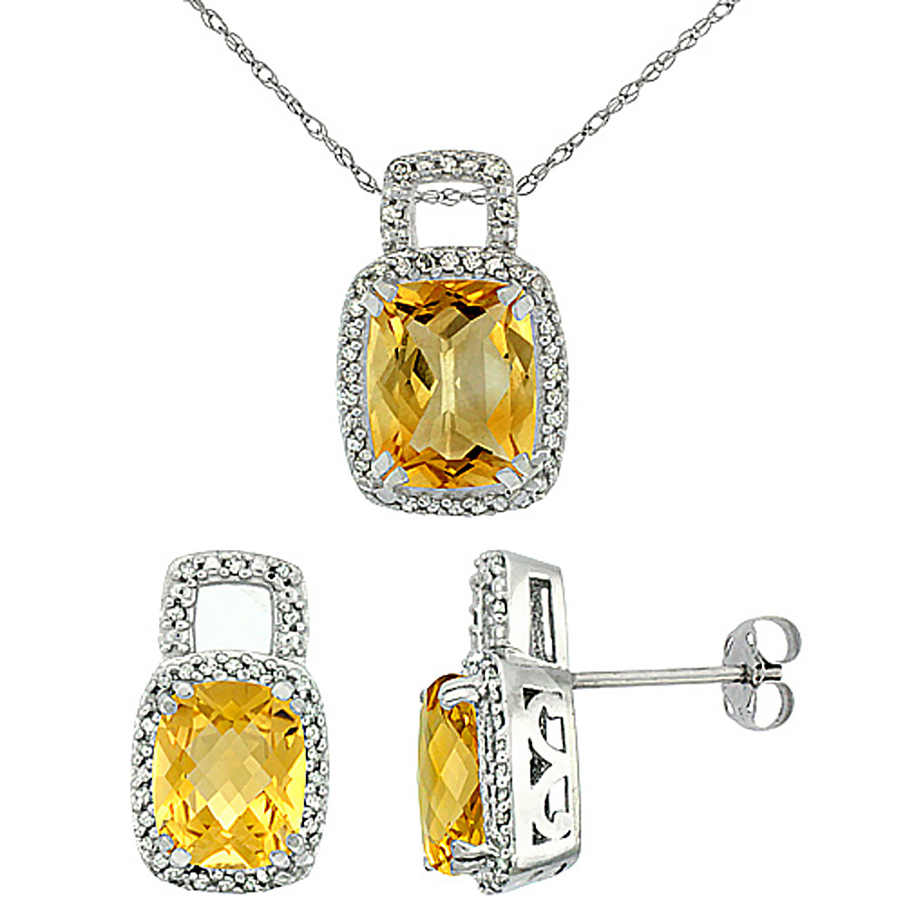 10K White Gold Natural Octagon Cushion Citrine Earrings & Pendant Set Diamond Accents