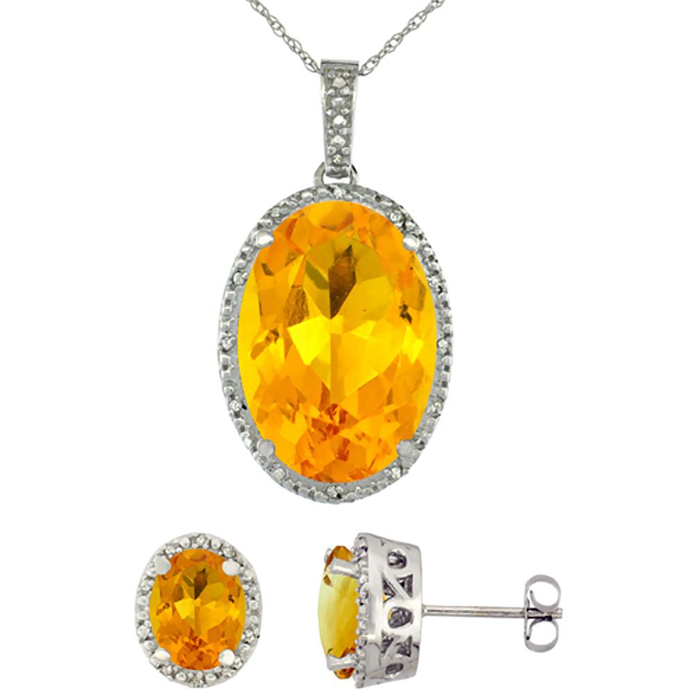 10K White Gold Diamond Natural Oval Citrine Earrings & Pendant Set