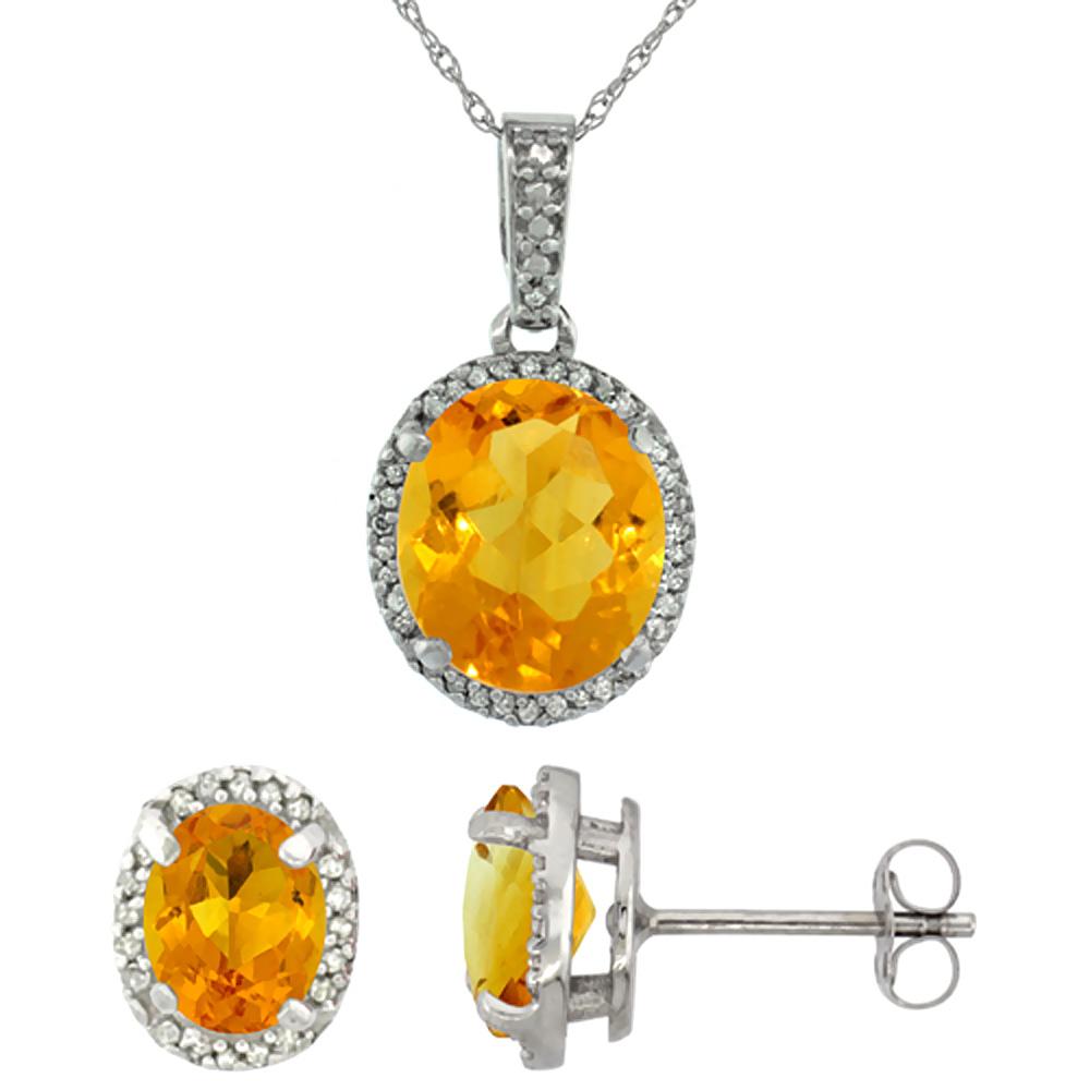10K White Gold Diamond Natural Citrine Oval Earrings & Pendant Set