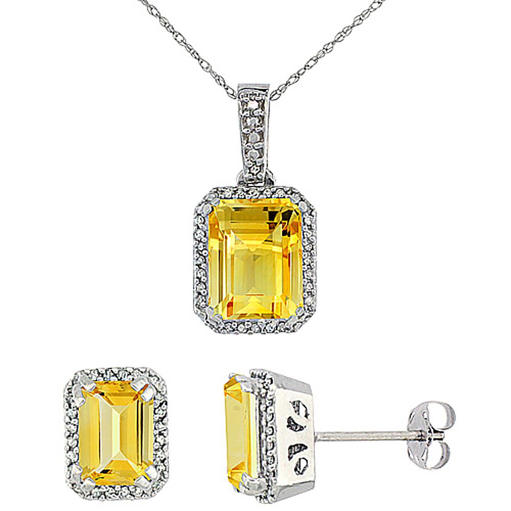 10K White Gold Diamond Natural Octagon Citrine Earrings & Pendant Set