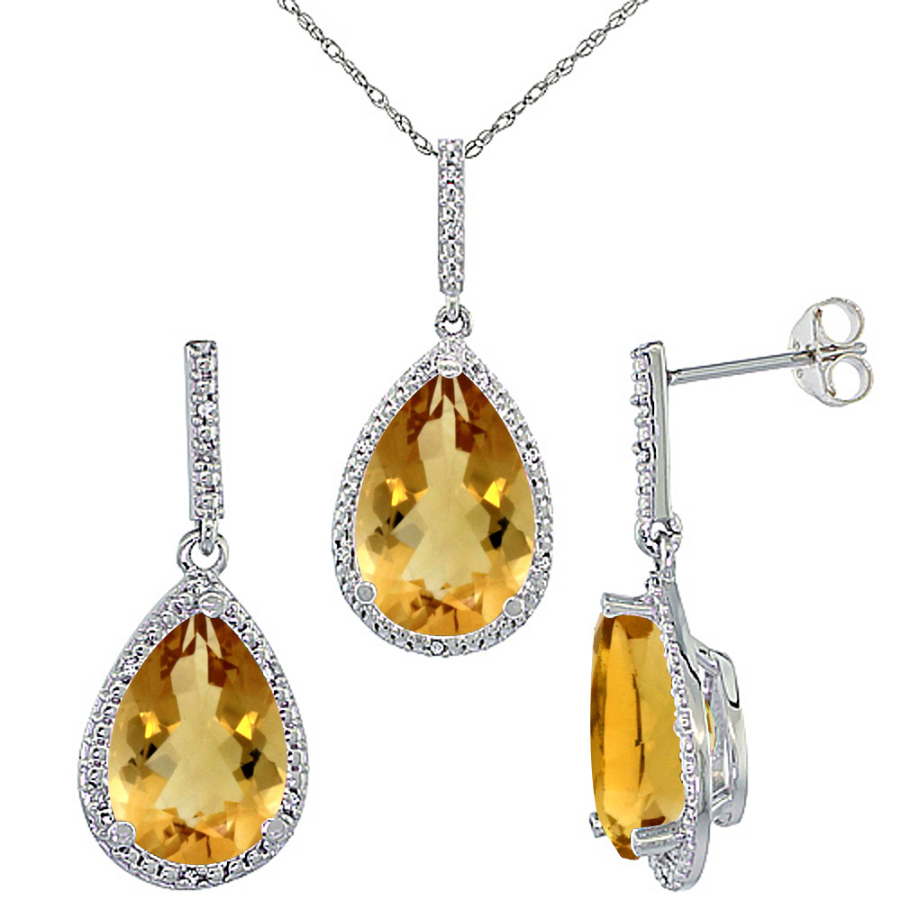 10K White Gold Diamond Natural Citrine Earrings Necklace Set Pear Shaped 12x8mm & 15x10mm, 18 inch long