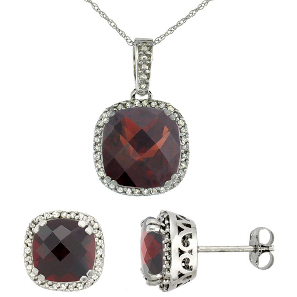 10k White Gold Diamond Halo Natural Garnet Earring Necklace Set 7x7mm & 10x10mm Cushion, 18 inch