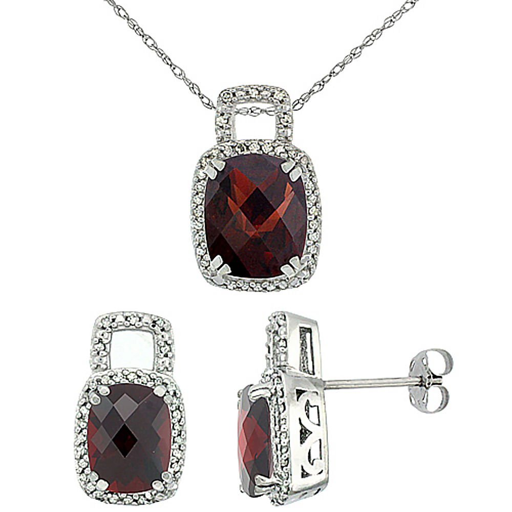 10K White Gold Natural Octagon Cushion Garnet Earrings & Pendant Set Diamond Accents