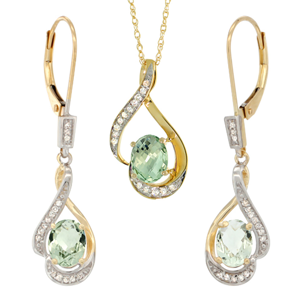 14K Yellow Gold Natural Green Amethyst Lever Back Earrings & Pendant Set Diamond Accent